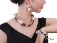 White Freshwater Pearl, Colorful Crystal Beads & Necklace, Bracelet and Earrings Set