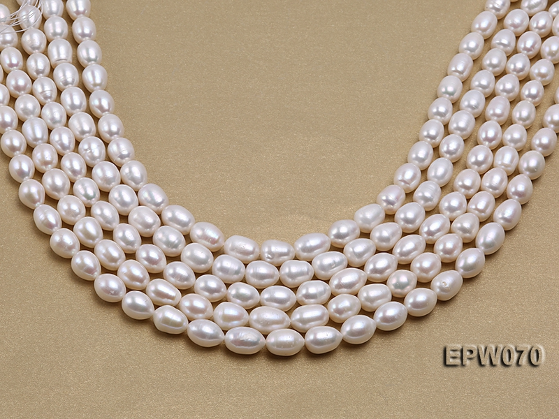 Wholesale 9x12mm Classic White Rice-shaped Freshwater Pearl String