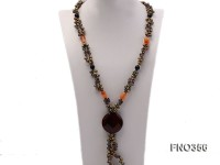 6x8mm pewter rice shape pearl and irregular crystal and black round faceted agate necklace