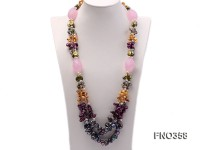8x11mm multicolor irregular freshwater pearl and pink faceted rose quratz necklace