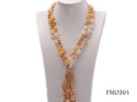 8.5×7.5mm yellow flat freshwater pearl and biwa pearl and yellow jade necklace