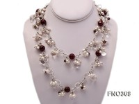 6.5×8.5mm white rice shape freshwater pearl and crystal and red stone necklace