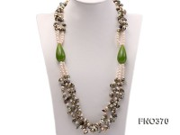 6mm white freshwater pearl and regenerated pearl and green jade stone necklace