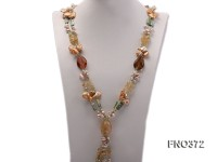 7x9mm light yellow flat freshwater pearl and tiger iron jasper and biwa pearl necklace