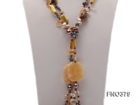7x9mm multicolor freshwater pearl and light yellow irregular crystal necklace