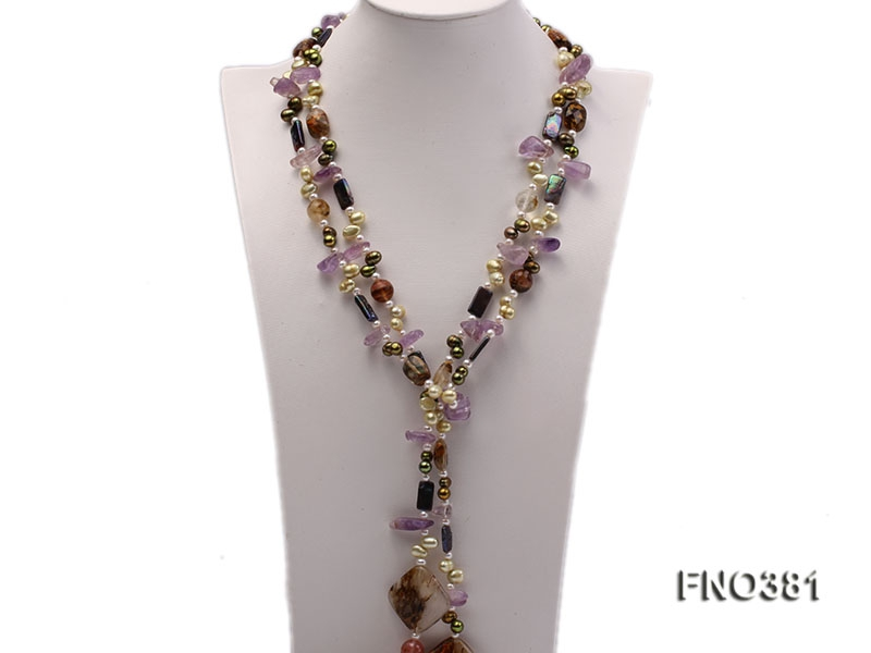 7x9mm multicolor flat FW pearl and purple irregular crystal and gemstone necklace