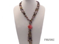 7x9mm pewter flat FW pearl and purple broken crystal and irregular pearl necklace