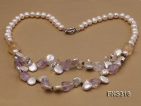 8-9mm natural white round freshwater pearl with amethyst and white crystal necklace