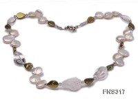 natural white cion freshwater pearl with natural irregular white crystal necklace