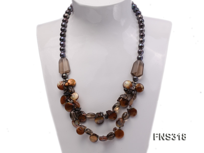 9-10mm black round freshwater pearl with natural smoky quartz and coin pearl necklace