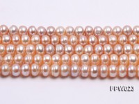 Wholesale 7.5x10mm Pink Flat Cultured Freshwater Pearl String