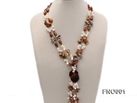 7×9.5mm white flat freshwater pearl and irregular pearl and golden coral necklace