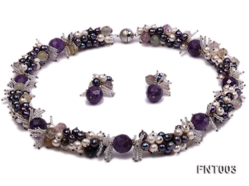 6-7mm White & Purple Freshwater Pearl and Amethyst Beads Necklace, Bracelet and Earrings Set