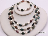 7x9mm White Freshwater Pearl & Moss Agate Beads Necklace and Bracelet Set