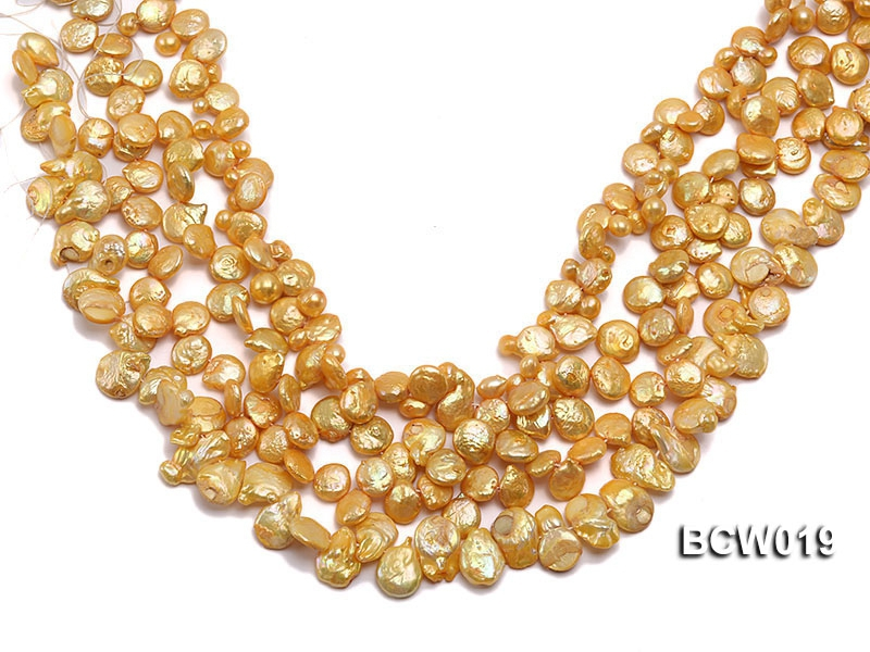 Wholesale 11x15mm Golden Irregular Cultured Freshwater Pearl String