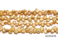 Wholesale 11x15mm Golden Irregular Cultured Freshwater Pearl String