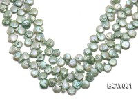 Wholesale 11-12mm Apple Green Button-shaped Cultured Freshwater Pearl String