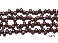 Wholesale 6x8mm Reddish Brown Side-drilled Cultured Freshwater Pearl String
