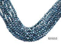 Wholesale 6x8mm Peacock Blue Flat  Freshwater Pearl String