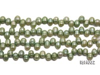 Wholesale 6x8mm Green Side-drilled Cultured Freshwater Pearl String