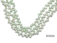 Wholesale 6.5x9mm Silver Green Side-drilled Cultured Freshwater Pearl String