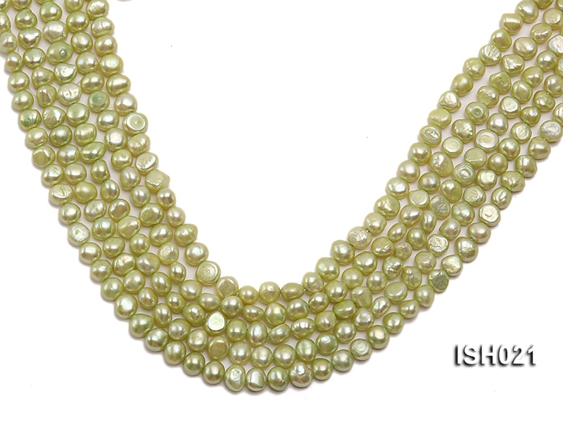 Wholesale 5x7mm Light Green Flat  Freshwater Pearl String