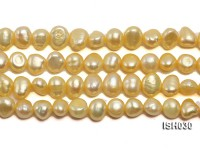 Wholesale 6x8mm Yellow Flat  Freshwater Pearl String