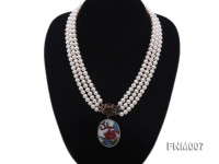 3 strand 5-6mm white round freshwater pearl necklace with cloisonne pendant