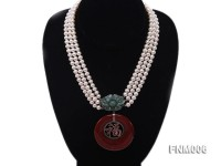 3 strand 5-6mm white round freshwater pearl necklace with agate pendant