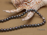 7-8mm black round freshwater pearl necklace with gemstone pendant