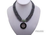 3 strand 5-6mm black round freshwater pearl necklace with agate pendant