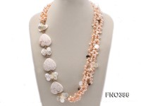 5x8mm pink freshwater pearl, white turquoise and drop-shaped shell necklace