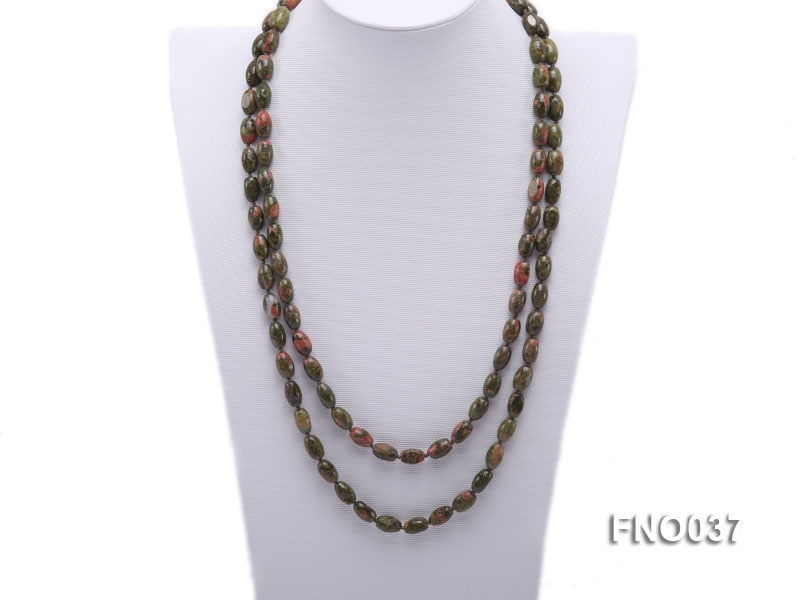 8x12mm colorful drum-shaped stone necklace