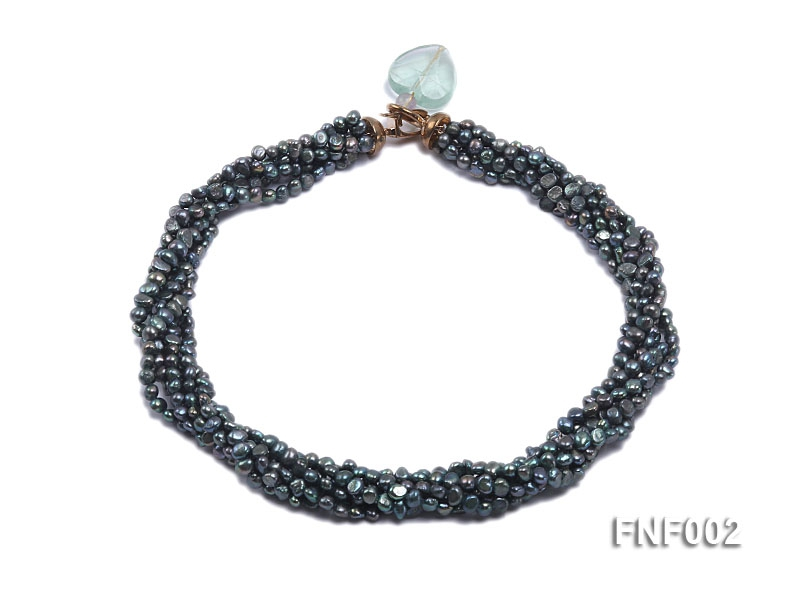 Six-strand Purplish-grey Freshwater Pearl Necklace wiht a with a Blue Sand-stone Necklace