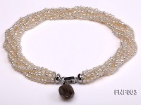 Six-strand 4-5mm White Flat Freshwater Pearl Necklace with a Smoky Quartz Pendant