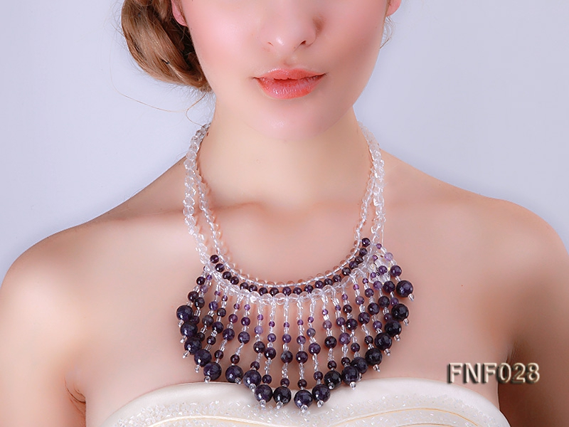 Fashionable Rock Crystal Quartz and Purple Crystal Quartz Necklace