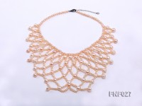 4mm Fishnet-shaped Pink Oval Cultured Freshwater Pearl Necklace