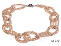 4-5mm Pink Freshwater Pearl and Crystal Beads Necklace