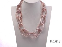 4-5mm Light-Purple Cultured Freshwater Pearl Necklace with Crystal Beads
