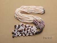 Multi-strand 4-5mm White Freshwater Pearl and Garnet Beads Necklace