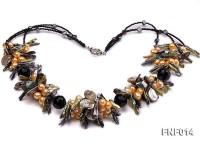 Freshwater Pearl, Agate Beads and Seashell Pieces Necklace