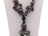 Three-strand Dark-purple Freshwater Pearl, Seashell Pieces and Black Agate Beads Necklace