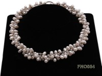 6x9mm white oval freshwater pearl and Austria crystal necklace