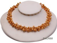 6x9mm light yellow oval freshwater pearl and Austria crystal necklace