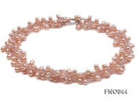6x9mm pink oval freshwater pearl and Austria crystal necklace