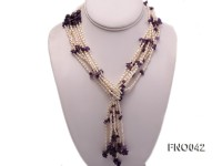 3×4.5mm white oval freshwater pearl and broken amethyst necklace