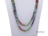 7x9mm multicolor oval freshwater pearl necklace