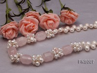 natural 7*9mm white freshwater pearl with crystal necklace