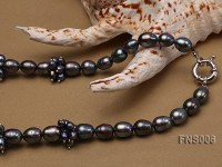8*10mm black rice freshwater pearl with natural black agate necklace