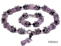 7-8mm Freshwater Pearl and Amethyst Beads Necklace and Bracelet Set
